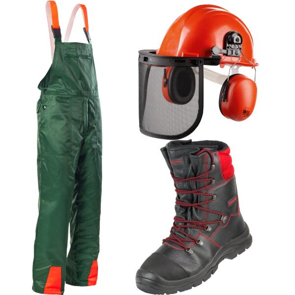 3tlg Forstschutzset Latzhose Schnittschutzstiefel Helmset