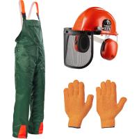 3tlg Forstschutz Set Latzhose Helm Handschuhe