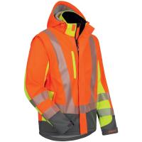 2in1 Warnschutz Softshell Jacke ATANAS orange/gelb/grau -...
