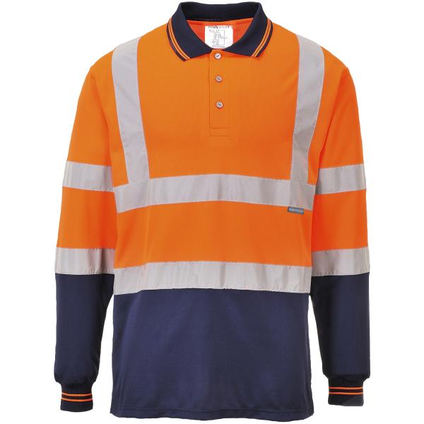 Zweifarbiges Warnschutz Langarm Polo-Shirt orange - Portwest®