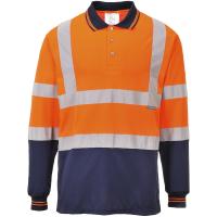 Zweifarbiges Warnschutz Langarm Polo-Shirt orange -...