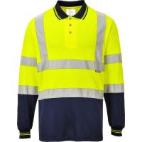 Zweifarbiges Warnschutz Langarm Polo-Shirt gelb -...